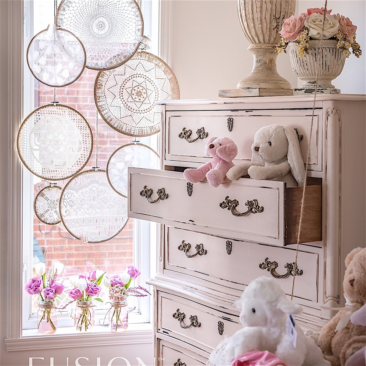 Little Piggy painted chest of drawers