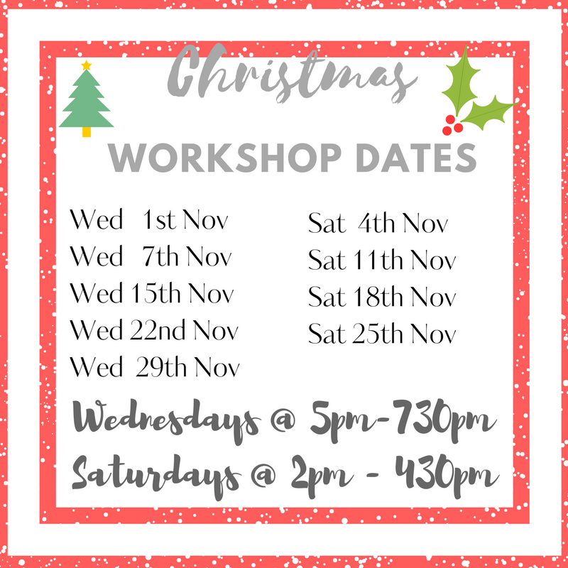 Create a Christmas sign workshop timetable