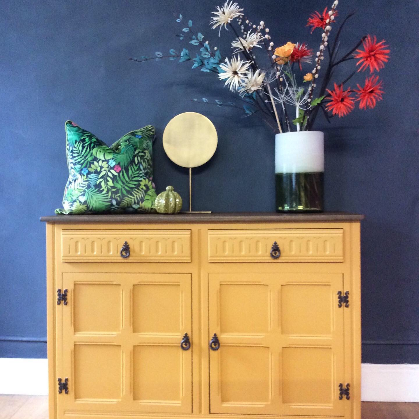 Mustard Sideboard painted with Fusion Mineral Paint UK - Home Revival Interiors