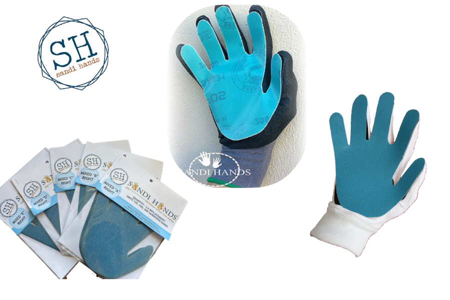 gloves with sand papaer in hand shaped attached  to the glove