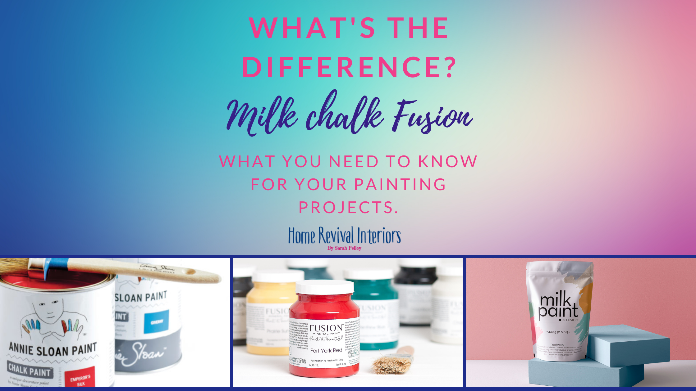 3 TYPES OF PAINT SIDE BY SIDE CHALK, MILK, MINERAL