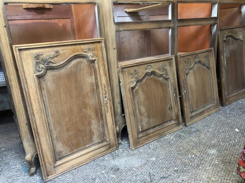 bare wood cabinet doors