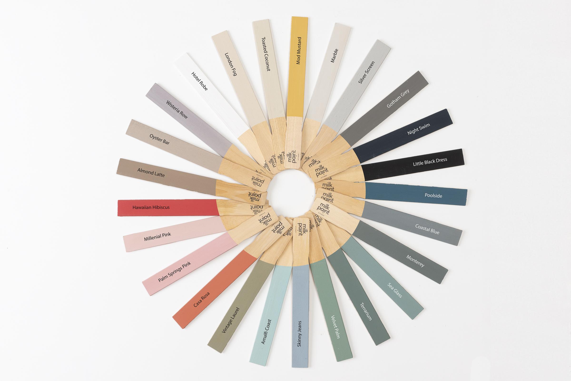 Milk Paint by Fusion colour chart paint sticks - Home Revival Interiors