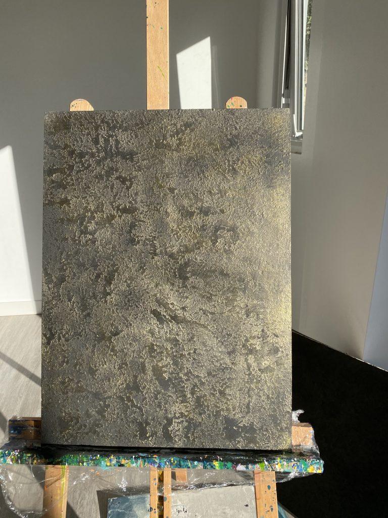 Decorative plaster sample board, gold highlights
