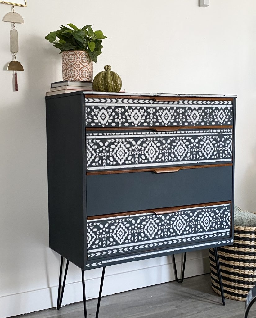 side view of blue MCM chest of drawers